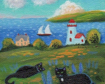 ORIGINAL PAINTING, Two Black Lighthouse Cats and Lupines , by DM Laughlin