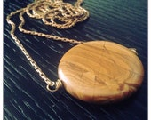 Picture Jasper Pendant Necklace -long brass Chain - gemstone pendant necklace - crystal necklace