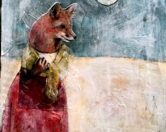 moon fox original mixed media  animal painting on wood