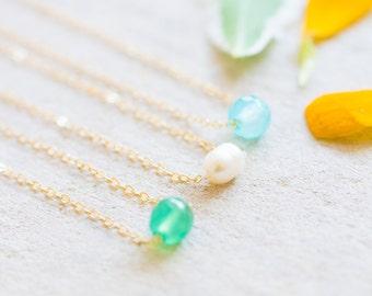 Tiny Gemstone Delicate Bead Necklace, Choose ONE Dainty Necklace, Simple Beaded Necklace