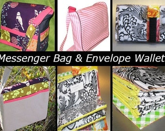 2 DIGITAL PDF PATTERNS Lot! Sewing Messenger Bag Style Pattern and Cash Envelope Wallet