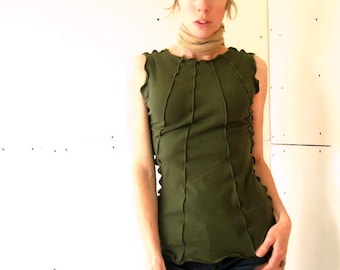 RIBBED TOP t-shirts, tank top, women shirt, women tank, olive tshirt, handmade shirt, treehouse28, stretchy shirt, green shirt, cotton shirt