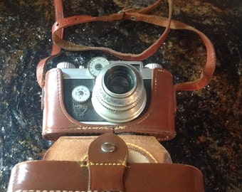 Vintage Argus C-Four 35mm Camera with 50mm Coated Cintar Lens and Original Cowhide Leather Case