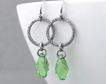 Green Crystal Earrings Crystal Drop Earrings Silver Boho Earrings Modern Jewelry Crystal Jewelry Gift for Her - Annabelle