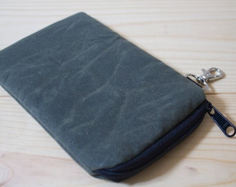 Waxed Canvas iPhone 7 (Plus),6 (Plus), Galaxy Note, Motorola Droid, Nexus 5/6, HTC One M8, Lg g 2/3/4, Case - Padded - Olive Green