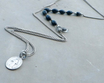 black rosary chain necklace, miraculous medal silver necklace, blessed mother necklace