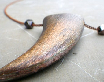 spirit animal tusk necklace, copper tusk necklace, long horn necklace, long tusk necklace, copper tusk necklace