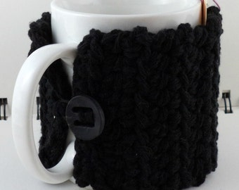 Crocheted Coffee or Ice Cream Cozy in Black Cotton with Black Button (SWG-I17)