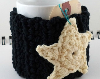 Crocheted Coffee or Ice Cream Cozy in Black with Cream Star, Rainbow Sherbet Stripe, and Orange Button (SWG-H03)