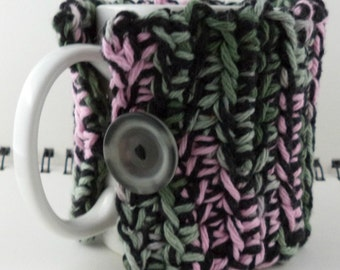 Crocheted Coffee or Ice Cream Cozy, Grays and Pink (SWG-Z01)
