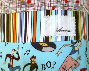 Retro Laundry Bag Jazz Figures Dancing Hipsters Psychedelic Prints All Cotton Handmade Travel and Other Sizes