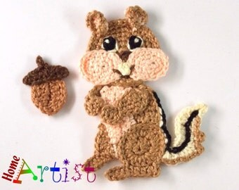 Crochet Applique chipmunk