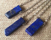 Lapis Lazuli Bar Necklace / Mens Lapis Pendant on Silver Cable Chain / Stone Necklace / Stone Jewelry / Bohemian Layering Necklace
