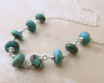 Turquoise Wire-Wrapped Necklace with Sterling Silver Cable Chain