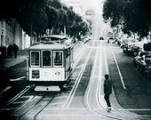 San Francisco Photography - Black and White Trolley Print, California, Travel, Vacation, Cable Car, Street, Scene