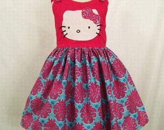 Girls Kitty Jumper Dress, Handmade Little Girls Dress,Girls Clothing, Made in the USA, #259
