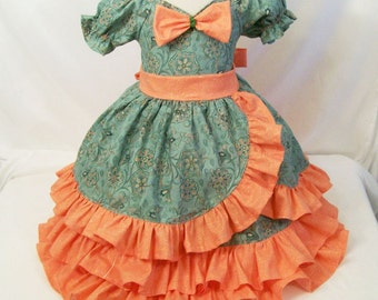 Girls Sweetheart Dress,Triple Ruffle Moc Wrap Special Occasion SIZE 3T  Made in USA, #151