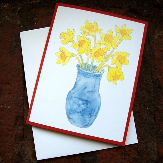 Cards - Daffodils, set of 4 FREE USA Shipping