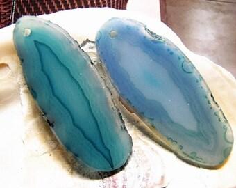 Blue Green Aqua, small, Agate Slice Pair