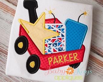 Fireworks Wagon Applique Design 4x4, 5x7, 6x10, 8x8