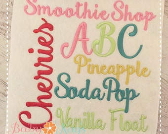 "Smoothie Shop Embroidery Font 1"", 1.5"", 2"", 2.5"", 3"", and BX"