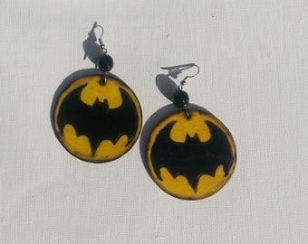 Yellow Batman Emblem Earrings Wood burned 1