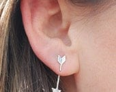 Straight Arrow Jacket earrings, eco-friendly silver or 14kt gold vermeil.  Handcrafted by Chocolate and Steel
