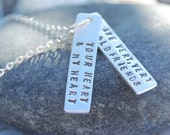 Friendship Love Quote - HAFEZ - handcrafted handmade sterling silver necklace by Chocolate and Steel