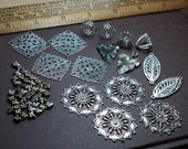 Silver Finding Assortment Filigree Antiqued Metal Leaf Beads Links Cages Jewelry Making Lot