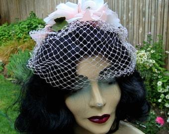 Vintage Hat Pink Roses Veil Netting 1960s Ribbons Pale Velvet Bow 1950s  2553