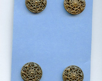 Set of (4) TWINKLE type buttons  13/16 inch size dark Metal 1934