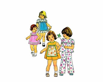 1970s Toddler Girls Apron Dress Top Pants Simplicity 7409 Vintage Sewing Pattern Size 1