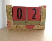 Perpetual Wooden Block Calendar - Sewing Thread Labels - Great for Crafty Folks