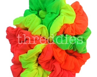 10 NEON cotton scrunchies // pastels, rainbow colors, dark colors, black, or black and white also available