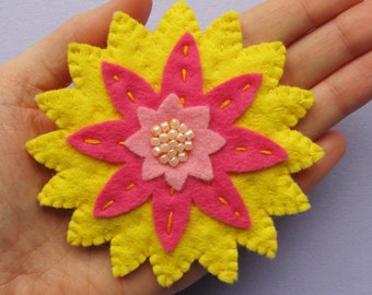 Large Pink and Yellow Flower brooch, beaded felt flower brooch