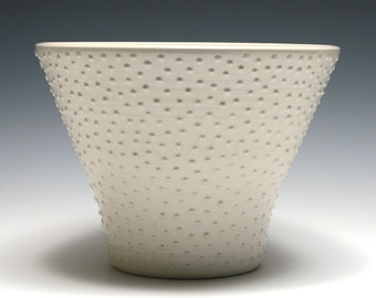 White Flared Dotted Bowl