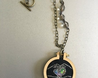 FALL SALE portal necklace no. 1 -  embroidery hoop necklace with vintage beads and hand painted stars