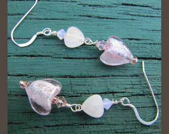 Lampwork Rose Quartz Pink Heart Earrings from Cornerstoregoddess