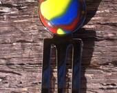 Swirled Fused Glass Chrome Plated Bookmark