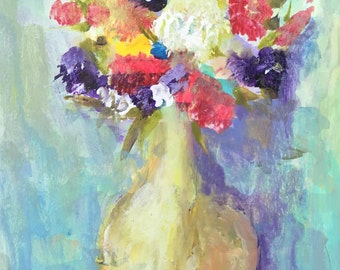 Original Abstract Impressionist Floral Painting