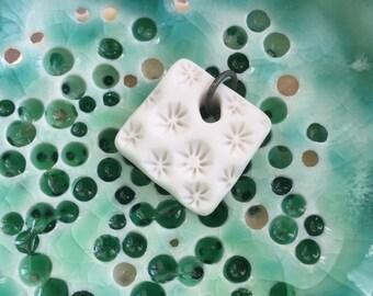 Delicate coral square porcelain pendant -sale