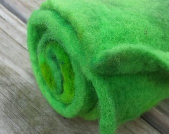 NEW Hand Dyed Wool Felt 34 x 6 inches Bright and Dark Greens Thick Felted Wool Perfect for All Your Crafts and Rugs