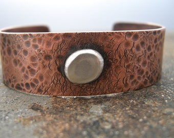 hammered copper cuff, cooper bracelet, handmade jewlery, recycled sterling silver with copper