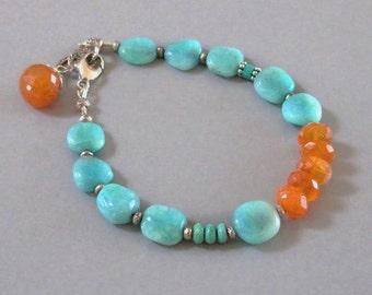 Peruvian Opal Carnelian Bracelet Sterling Silver Bead Gemstone DJStrang Boho Cottage Chic Fiery Orange Blue Stone