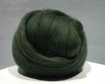 Pine Green Merino wool roving, Needle Felting wool, Spinning Fiber, dark green merino, green merino roving, Saori