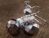 SALE silver swarovski crystal handmade earrings