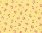 Strawberry Fields Revisited - Strawberry Blooms in Butter Yellow: sku 20261-15 cotton quilting fabric by Fig Tree for Moda Fabrics - 1 yard