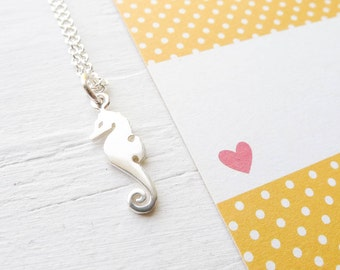 Seahorse Necklace Sterling Silver Sea Horse Pendant Adorable Sea Creature Charm Jewelry