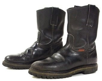 80s Motorcycle Boots / Vintage 1980s Black Leather Short Campus / Western / Cowboy / Work / Motorcycle Boots / Womens Size 9 / Mens Size 7.5