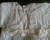 Adorable vintage toddler's jumpsuit, embroidered white cotton with buttons, tiny lines in fabric, great condition, unusual style, so cute!